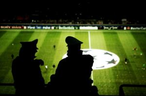 Milan. Italy. Police in San Siro, football stadium, AC Milan and Inter Milan.